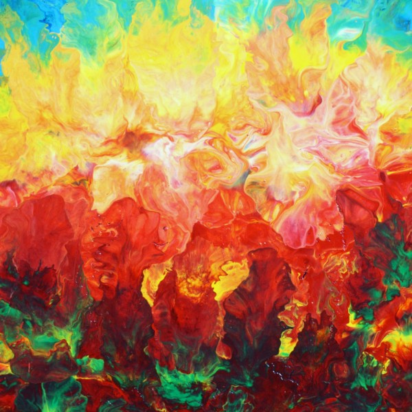 Rise Over the Pines - Fluid Acrylic Art by Eric Siebenthal - Acrylicmind.com