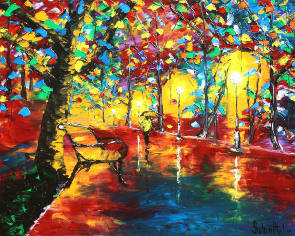 Walk in the Rain - Leonid Afremov - Oil Painting by Eric Siebenthal